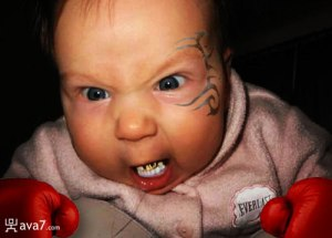 A baby made to look like Tyson  tattoo and aggressive look included. You can never Indoctrinate too early...