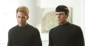 Kirk (Chris Pine) and Spock (Zach Quinto). Yes, what you see is correct, these two have absolutely nothing in common.