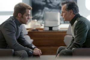 Kirk (Chris Pine) and Pike (Brice Greenwood). Memo to Abrams: Kirk is running out of dads. Time to come up with something else besides revenge and retribution by a frat boy.