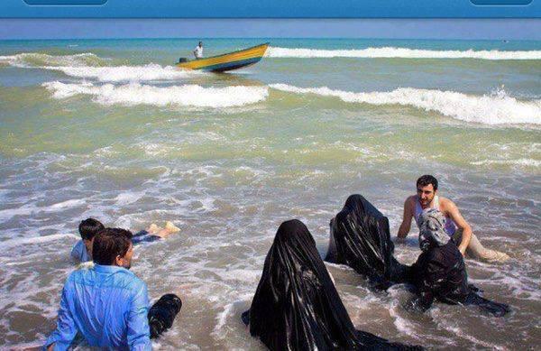 Women burkas in muslim the beach at
