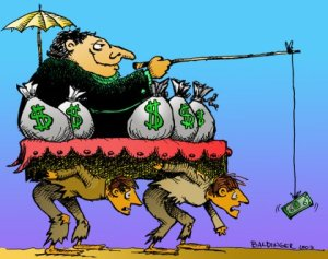 The Middle Class, literally, carrying the economic burden of society, including the rich man.