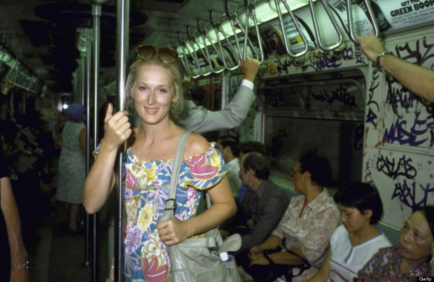 Actress Meryl Streep riding in a NYC subway train.