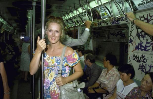 Actress Meryl Streep riding in a NYC subway train.