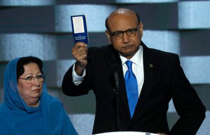 Khizr Khan speaks during the last night of the Democratic National Convention in Philadelphia
